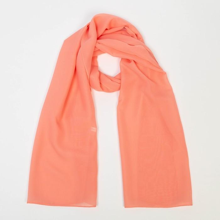 Шарф текстильный, цвет лосось, размер 50х160 см