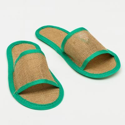 """Тапочки с открытым мысом льняные, в индивидуальной упаковке """"Боббер"""" Natural green - Фото 1"""