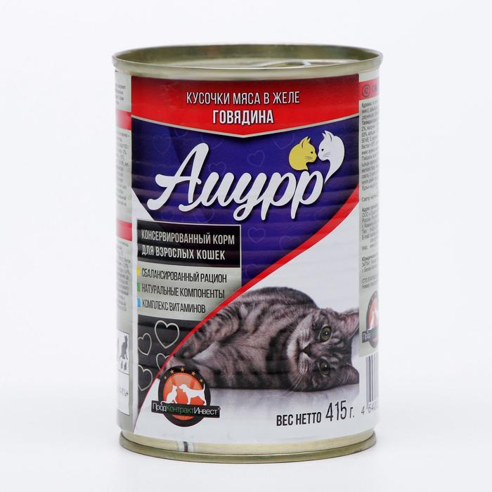 "Влажный корм ""Амурр"" для кошек, говядина в желе, ж/б, 415 гр"
