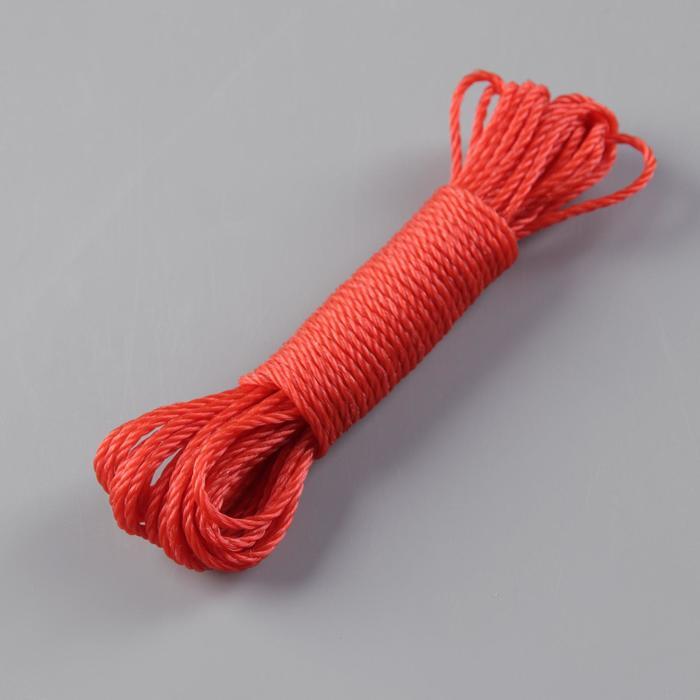 Верёвка бельевая Доляна, d2,5 мм, длина 10 м, цвет МИКС
