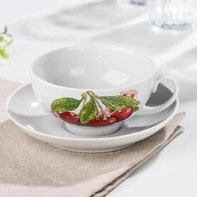 Чашка чайная с блюдцем Дулевский фарфор «Вишня», 220 мл