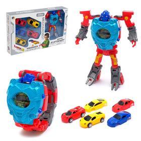 """Робот """"Супер гонки"""", трансформируется, 5 машинок, часы с запуском"""