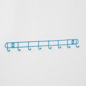 Вешалка настенная на 8 крючков Доляна «Лайт», 47,5×3×5 см, цвет МИКС Ош