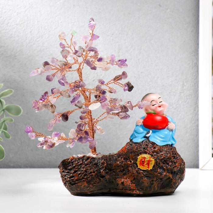 Сувенир бонсай 147 камней Хотей с яблоком у дерева с аметистами 18х13х6 см
