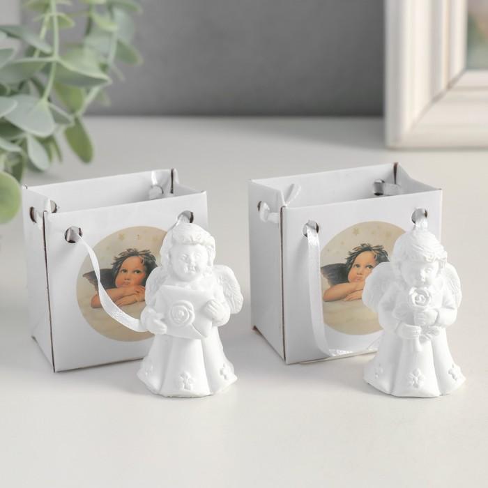 Сувенир полистоун Белоснежный ангел в платье с цветами МИКС 5,2х3,3х3 см