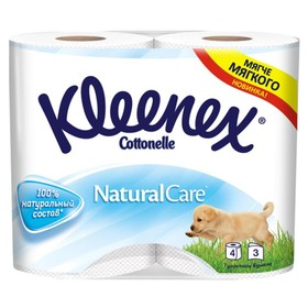Туалетная бумага Kleenex Natural Care, 3 слоя, 4 рулона