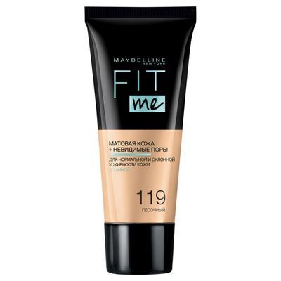 Тональный крем Maybelline Fit Me матирующий, скрывающий поры, оттенок № 119 песочный - Фото 1