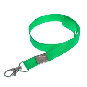 Лента для бейджа, 15 мм х 80 см, с металлическим карабином, зелёная Ош