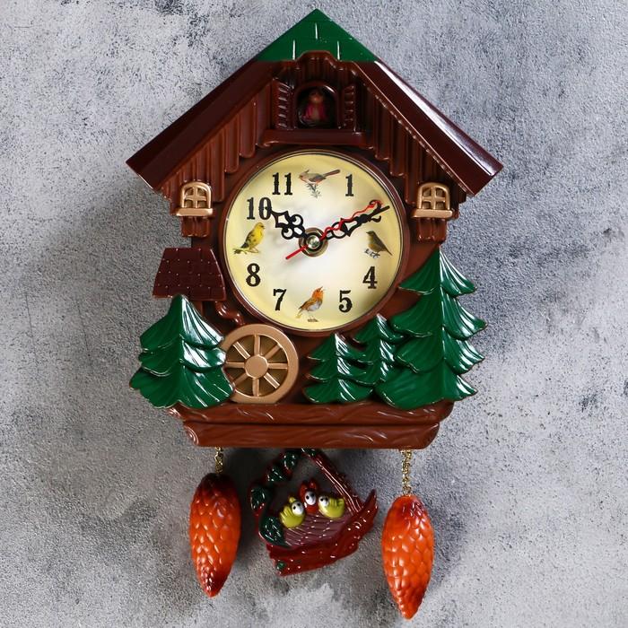 Часы настенные с кукушкой, серия Детские, Мельница с колесом, 18х21 см