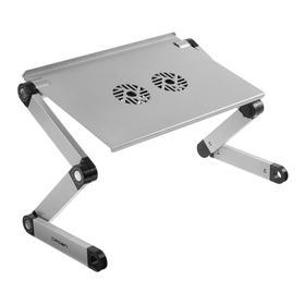 Подставка для ноутбука Crown CMLS-116G, до 17', 2 кулера, высота до 48 см, серебристая Ош