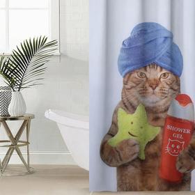 Штора для ванной комнаты Сирень «Котик», 145×180 см, оксфорд