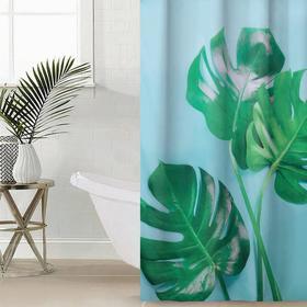 Штора для ванной комнаты Сирень «Сочная монстера», 145×180 см, оксфорд