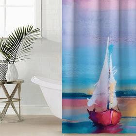 Штора для ванной комнаты Сирень «Парус», 145×180 см, оксфорд