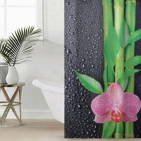 Штора для ванной комнаты Сирень «Капельки на чёрном», 145×180 см, оксфорд
