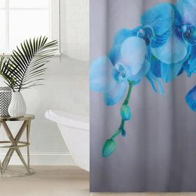 Штора для ванной комнаты Сирень «Голубая орхидея», 145×180 см, оксфорд