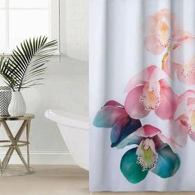 Штора для ванной комнаты «Разноцветная орхидея», 145×180 см, оксфорд