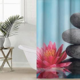Штора для ванной комнаты Сирень «Лотос и дзен», 145×180 см, оксфорд