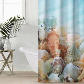 Штора для ванной комнаты Сирень «Королевство ракушек», 145×180 см, оксфорд