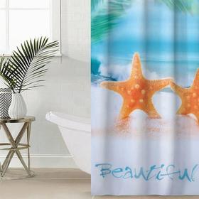 Штора для ванной комнаты Сирень «Райский остров», 145×180 см, оксфорд