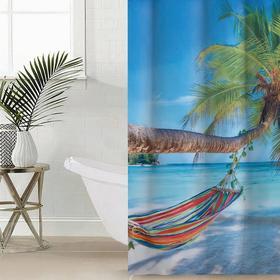 Штора для ванной комнаты Сирень «Незабываемый отдых», 145×180 см, оксфорд