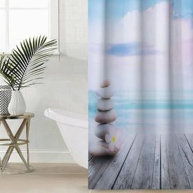Штора для ванной комнаты Сирень «Море и камни», 145×180 см, оксфорд