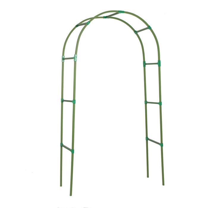 Арка садовая, разборная, 250 × 120 × 45 см, профиль 22 × 22 мм, пластик, зелёная