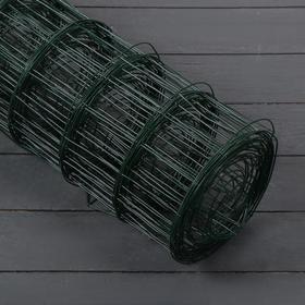 Сетка сварная, 1,5 × 10 м, ячейка 75 × 100 мм, d = 1,6 мм, металл с ПВХ покрытием, зелёная Ош