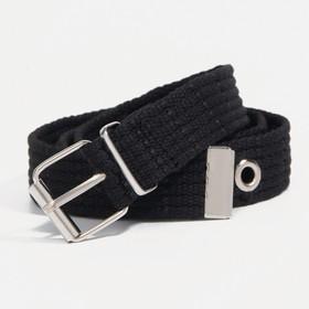 Ремень детский, ширина 3 см, пряжка металл, цвет чёрный