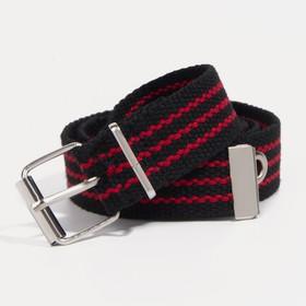 Ремень детский, ширина 3 см, пряжка металл, цвет чёрный/красный