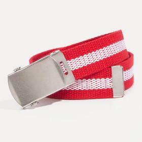 Ремень детский, ширина 3 см, пряжка автомат, цвет красный/белый
