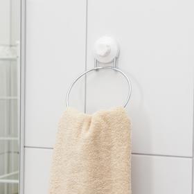 Держатель для полотенец одинарный Доляна, 20×15×4,5 см, кольцо, на вакуумной присоске Ош