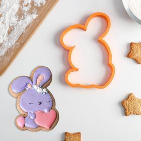 Форма для вырезания печенья и трафарет Lubimova «Зайчик с сердечком в лапках»