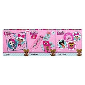 Настольная игра 3в1 «Лол», пазл 24 элемента, домино 28 элементов, 54 карты