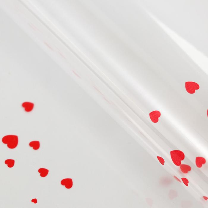 Плёнка прозрачная Сердечки, цвет бордовый, 60 х 60 см