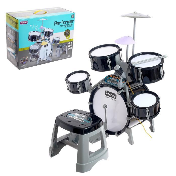 Барабанная установка «Блэк бит», со светомузыкой, микрофоном, пианино и стульчиком
