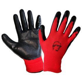 Перчатки нейлоновые с нитриловым покрытием, размер 10, цвет красный/чёрный Ош