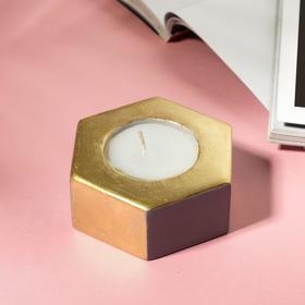 Свеча в подсвечнике «Серый и золотой», 7 х 3 х 8 см