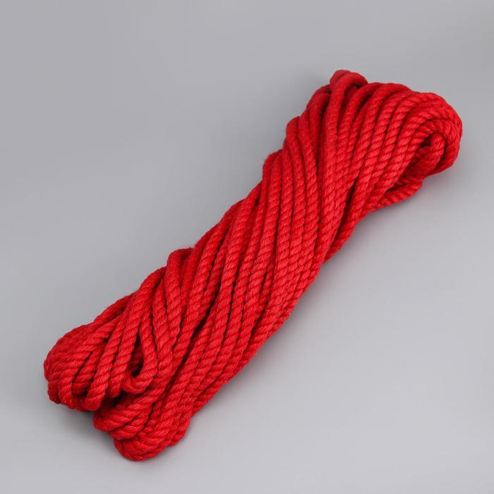 Канат х/б, d=6 мм, 20 м, моток, цвет красный