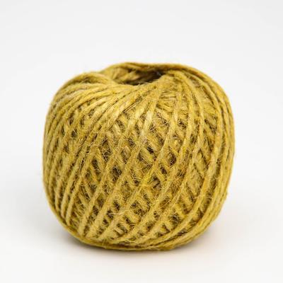 Шпагат джутовый, 1120 Текс, 50 м, цвет жёлтый - Фото 1