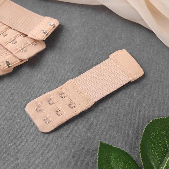 Застёжка-удлинитель для бюстгальтера, 3 ряда 2 крючка, 3,2 × 10,5 см, 5 шт, цвет бежевый