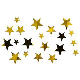 """Декор настенный """"Звёзды"""", 20 шт, 3-5-6.5 см, золото (5451324) - Купить по цене от 95.00 руб.   Интернет магазин SIMA-LAND.RU"""