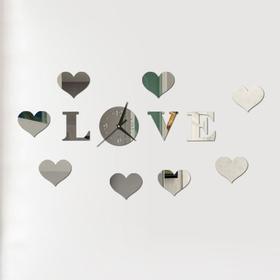 Часы-наклейка 'Love', d часы=15 см, буквы 11 см, сердца 8х6 см, серебро Ош