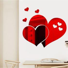 Декор настенный 'Сердца', зеркальный, 5 шт, 22 х 28.5 см, красный Ош
