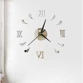 Часы-наклейка 'Ноты', d=45 см,  сек. стрелка 12 см, серебро Ош