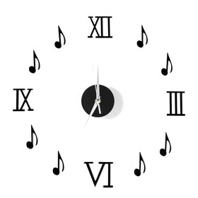 Часы-наклейка 'Ноты', d=45 см,  сек. стрелка 12 см, чёрные Ош