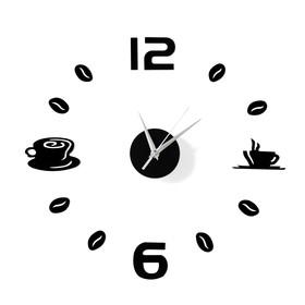 Часы-наклейка 'Время кофе', d=50 см,  сек. стрелка 12 см, чёрные Ош