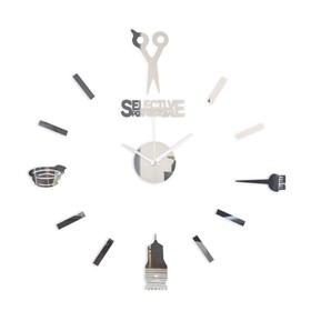 Часы-наклейка 'Парикмахер', d=45 см,  сек. стрелка 12 см, серебро Ош