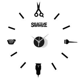 Часы-наклейка 'Парикмахер', d=45 см,  сек. стрелка 12 см, чёрные Ош