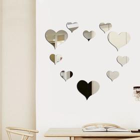 Декор настенный 'Сердце', зеркальный, 3 шт—14 х 15 см, 7 шт—9 х 10 см, серебро Ош