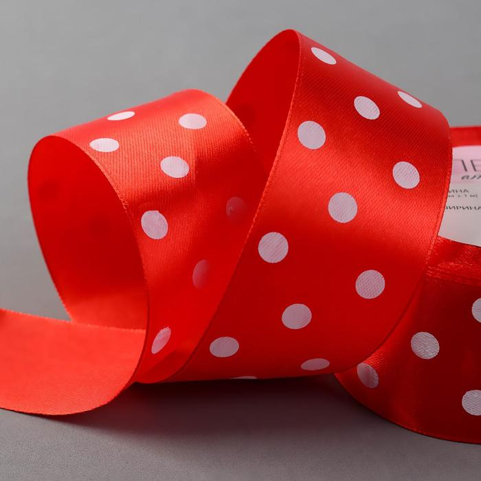 Лента атласная «Горошек», 40 мм × 23 ± 1 м, цвет красный №026
